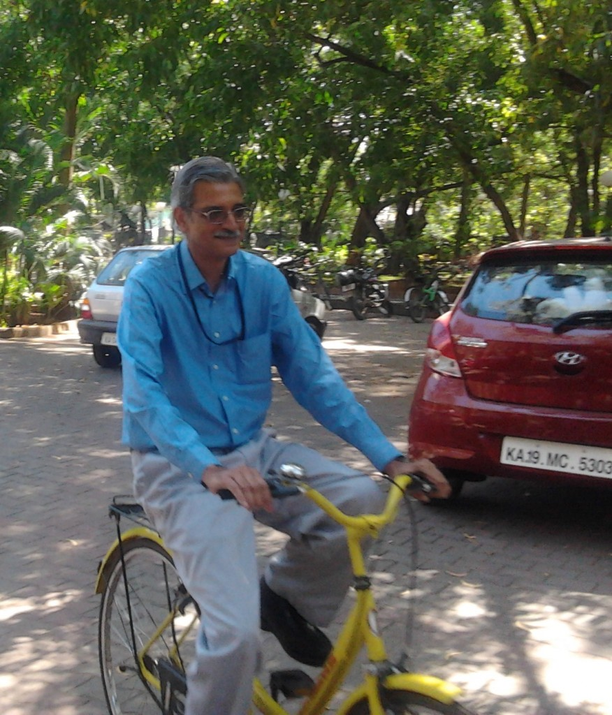 Prof. Sukumar happy to be on a bicycle after more than a decade